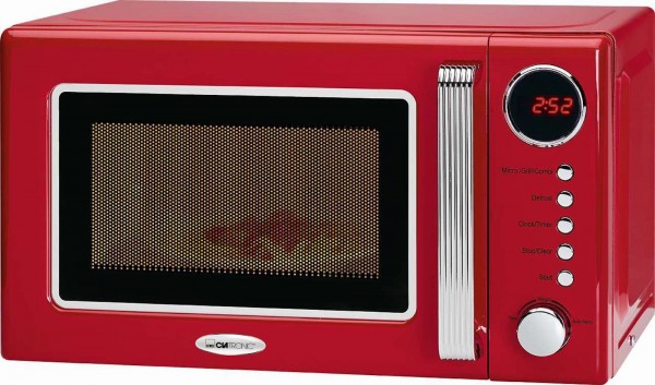 CLATRONIC Retro-Mikrowelle mit Grillfunktion MWG 790 rot