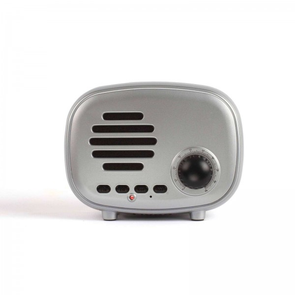 LIVOO Lautsprecher Bluetooth FM-Radio Mini-Retro TES202S silber