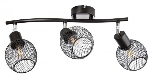Nino Leuchten Deckenleuchte schwarz 3-flammig Drahtgeflecht 81020308