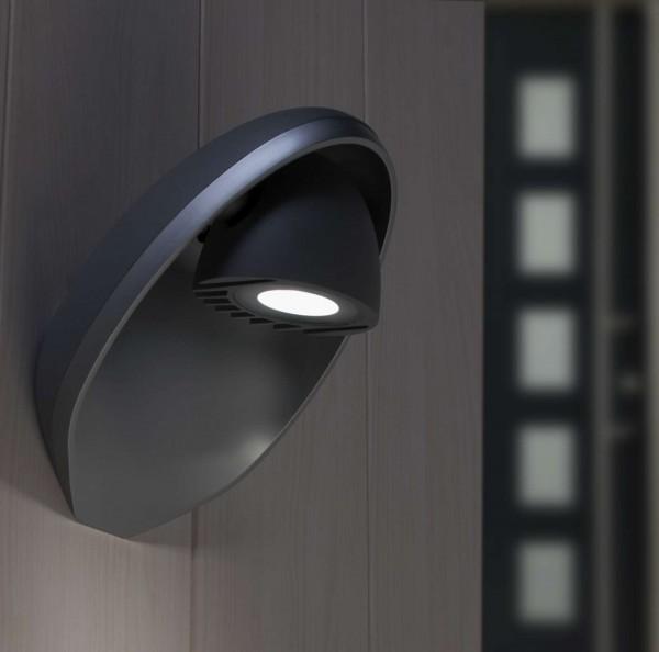 Lutec Eggo Wandlampe Aussenlampe Aussenleuchte Anthrazit LED 6160 Gr