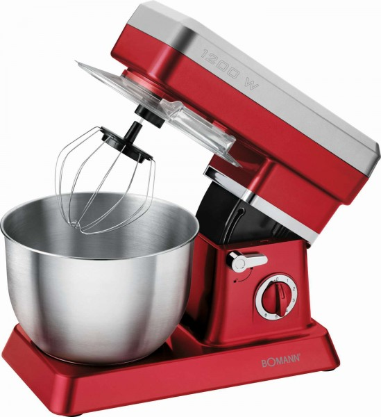 BOMANN Knetmaschine Rührmaschine Küchengerät 1200 Watt KM 398 rot