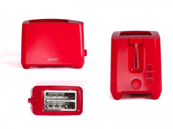 LIVOO Toaster Toastautomat Toastgerät 2-Schlitz-Toaster DOD162R rot
