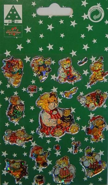Weihnachts-Sticker Teddybär 19 Glitzer-Aufkleber Klebebilder 1 Bogen