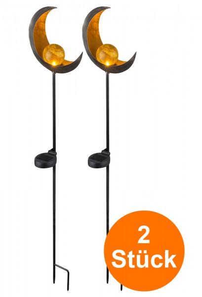 LED Solarleuchte 2er Set Solarlampe Metall Kugel Glas Außen IP44 Halbmond Bronze