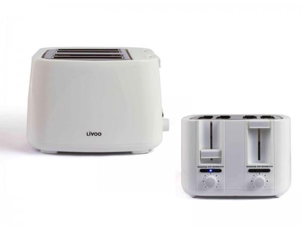 LIVOO 4-Scheiben-Toaster Toastgerät Toastautomat DOD167W weiß