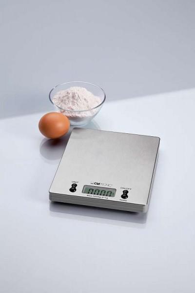 Clatronic Edelstahl Küchenwaage flach LCD-Display bis 5 kg KW 3367