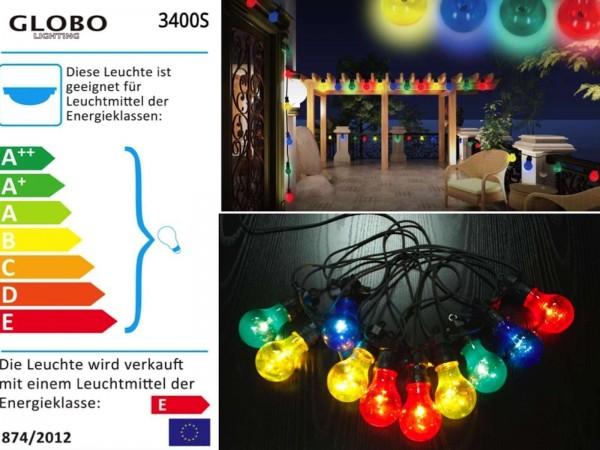 Globo Nirvana Lichterkette bunt Außenleuchte Gartenparty 3400S