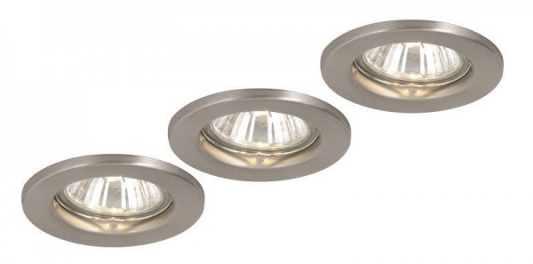 GLOBO 3er Set Einbaustrahler Strahler nickel matt starr Lampe 12100-3