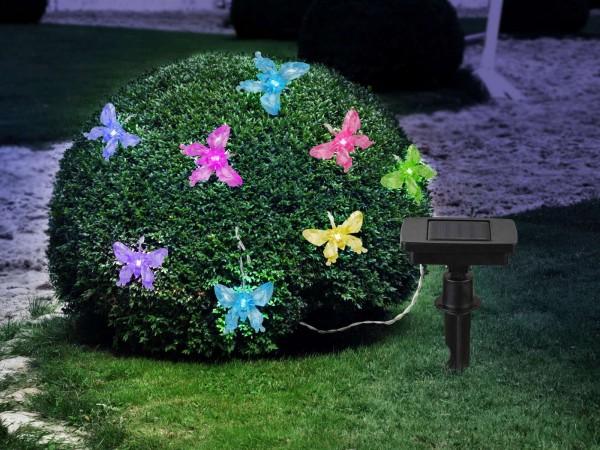 GLOBO Solar Lichterkette Schmetterlinge Gartenparty RGB-LED 33706-10