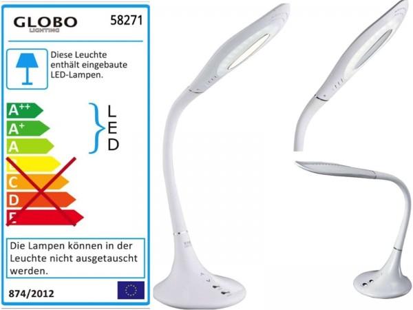 GLOBO Pattaya Tischleuchte Tischlampe Touch-Funktion 58271 weiß