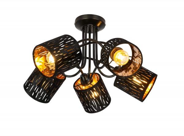 Globo Deckenleuchte Deckenlampe 5-flammig E14 Samt schwarz 15264-5D