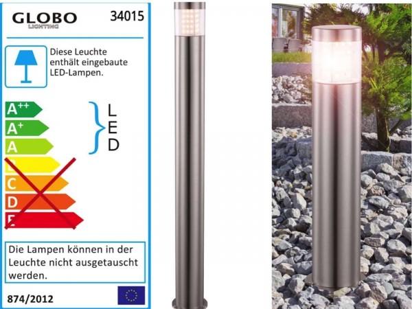 GLOBO Devian Außenleuchte Bodenleuchte rund IP44 Edelstahl LED 34016