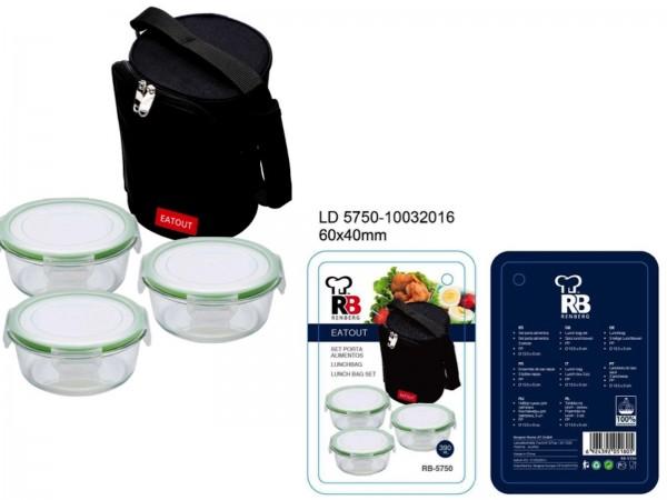 Renberg EATOUT Lunchbag 3-teilig Transporttasche rund RB-5750