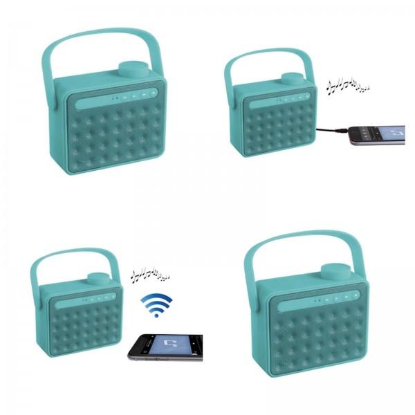 ClipSonic Lautsprecher tragbar mit Radio und Bluetooth türkis TES142B