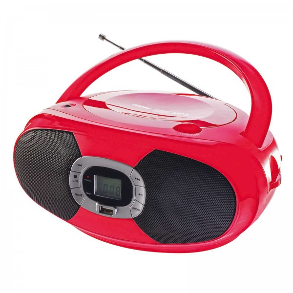 ClipSonic tragbarer CD-Player Radio Bluetooth USB rot TES149R