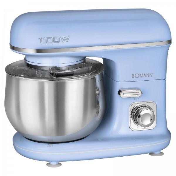 BOMANN Knetmaschine Küchengerät Edelstahl 5L 1100 Watt KM 6030 blau