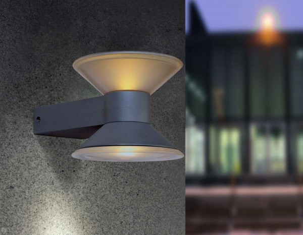 Lutec Cone Wandlampe Aussenlampe Aussenleuchte LED Anthrazit 1877 S Gr