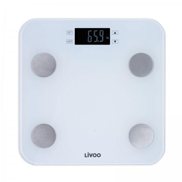 LIVOO Körperanalysewaage Körperwaage BMI Körperfett DOM427W weiß
