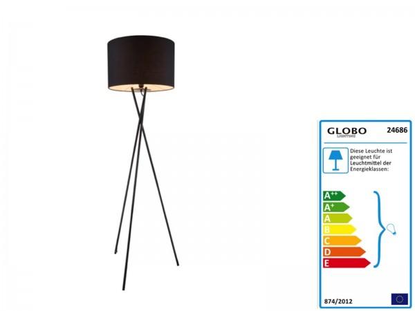 GLOBO GUSTAV Stehleuchte Lampenschirm Textil 24686 schwarz