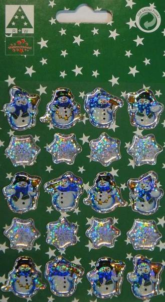 Weihnachts-Sticker Schneemann 20 Glitzer-Aufkleber Weihnachten Sterne