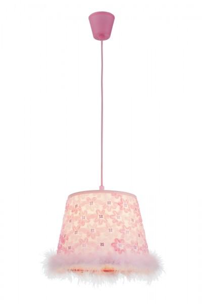 GLOBO Hängeleuchte Hängelampe E27 Pink Federn 15720