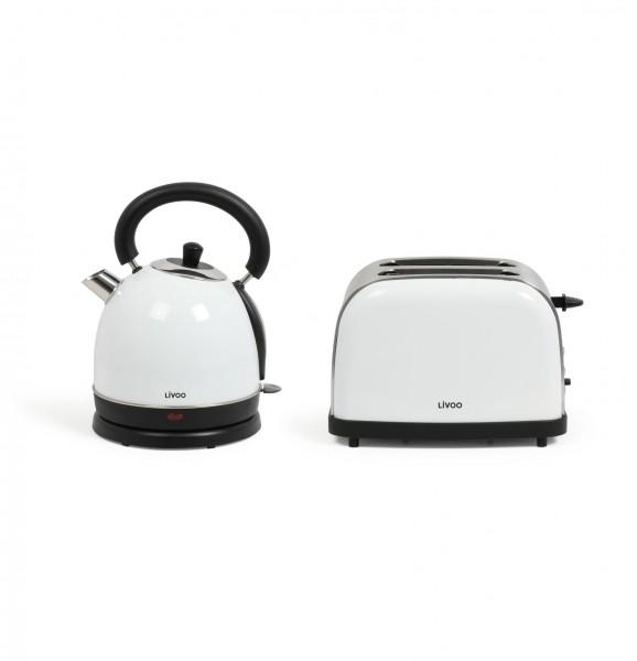 LIVOO Vintage-Frühstücks-Set Toaster Wasserkocher 1800W DOD136W weiß