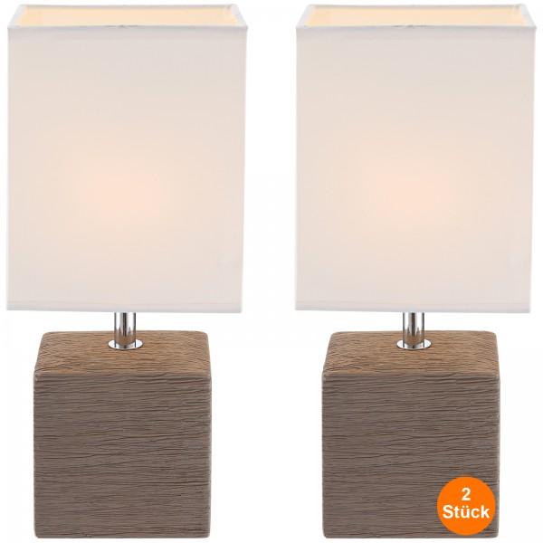 Nachttischlampe 2er Set Braun Lampenschirm Tischlampe Rechteckig Stoff Weiß