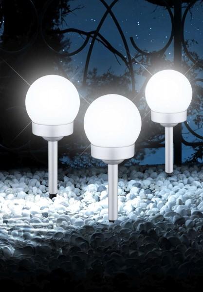 GLOBO LED Solarleuchte Solarlampe Kugel Garten Außen Silber Erdspieß 33770-3