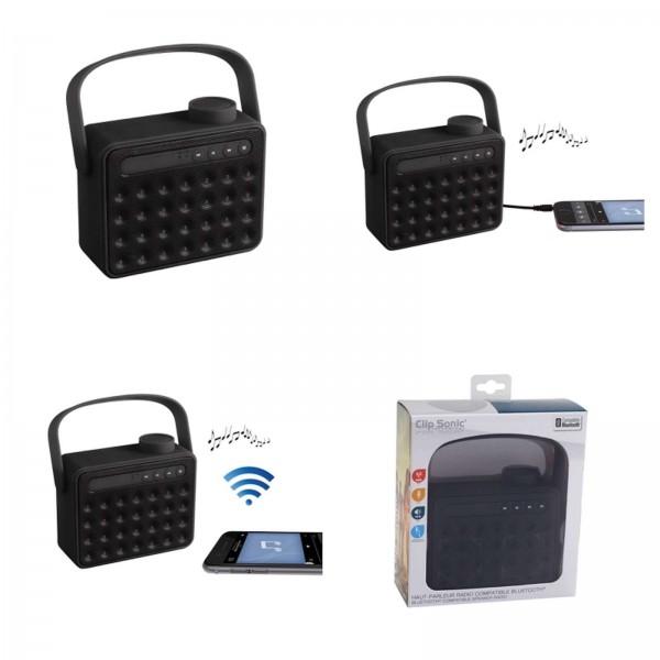 ClipSonic Lautsprecher tragbar mit Radio und Bluetooth schwarz TES142N