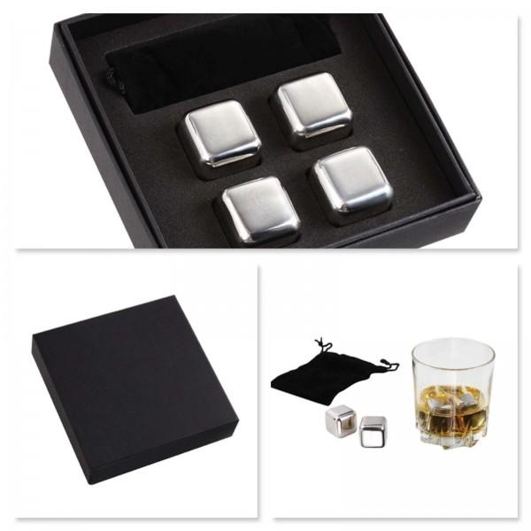 Wine&Cie Whisky Eiswürfelset Eiskühler Edelstahl 4-teilig GS121