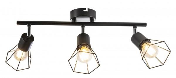 Nino Leuchten Deckenleuchte Deckenlampe Metall schwarz 3-flammig 81080308