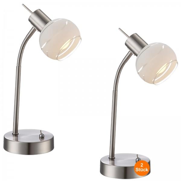 Nachttischlampe 2er Set LED Schreibtischlampe Silber Matt Metall Tischlampe Glas