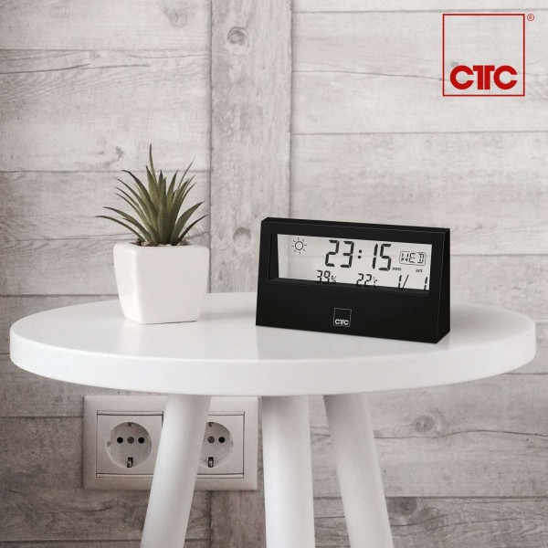CLATRONIC Wetterstation Weckfunktion LCD-Display WSU 7022 schwarz