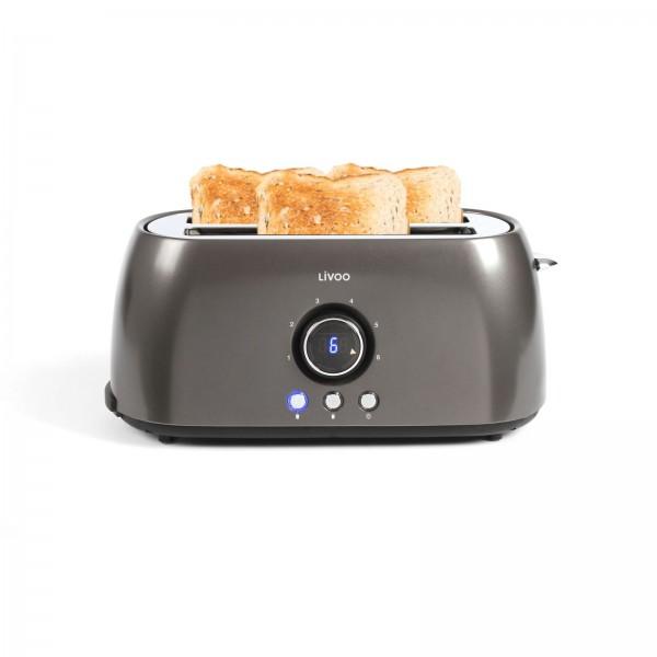 LIVOO Toaster Digitalanzeige 2-Schlitz-Toaster 1400 Watt DOD178