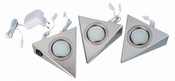 Nino Leuchten LED-Unterbauleuchten 3er Set Dreieck Nickel 79110307