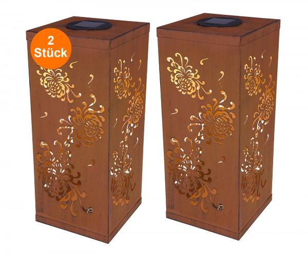 LED Solarleuchte 2er Set Solarlampe Metall Tisch IP44 Deko Blumen Rost Außen