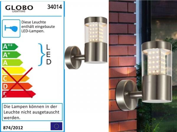 GLOBO Devian Außenleuchte Gartenleuchte Wandleuchte IP44 Edelst. 34014
