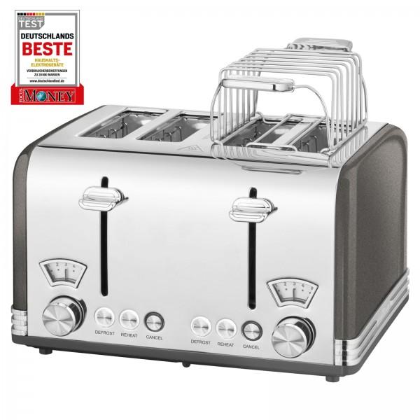 PROFICOOK Toaster 4-Scheibentoaster Vintage Wide Slot PC-TA 1194 anthrazit
