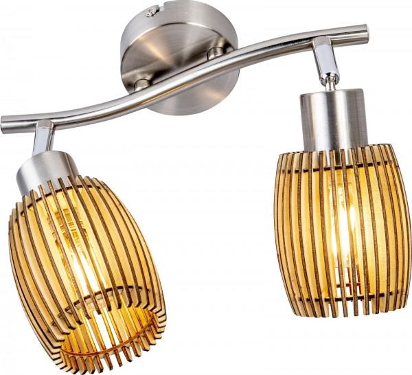 Nino Leuchten Deckenleuchte Deckenlampe 2-flammig Eiche hell 81040246