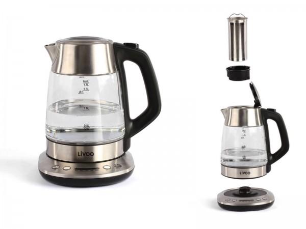 LIVOO Wasserkocher Teekocher 1,7 Liter Glas Edelstahl 2200 Watt DOD165