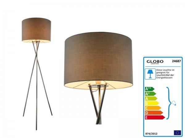 GLOBO GUSTAV Stehleuchte dreibeinig Lampenschirm textil 24687 grau