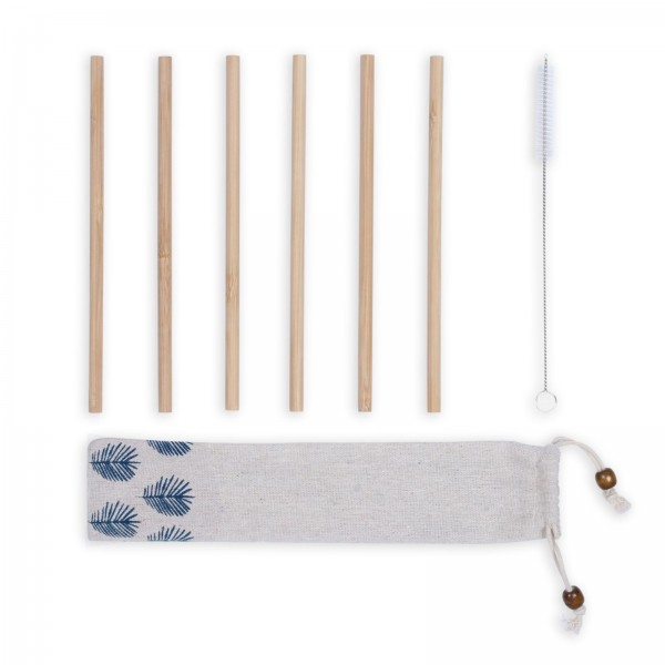 LIVOO Strohhalme Trinkhalme Bambus 6er-Pack 20 cm MES133