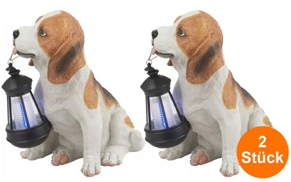 LED Solarleuchte 2er Set Solarlampe Garten Deko Hund Laterne Außen Tier Weiß