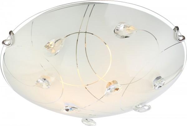 Globo Deckenleuchte Deckenlampe K5-Kristalle rund Opalglas 40414-2