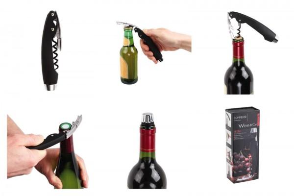 Wine&Cie 4-in-1 Profi-Korkenzieher Kellner-Korkenzieher Sommelier GS117