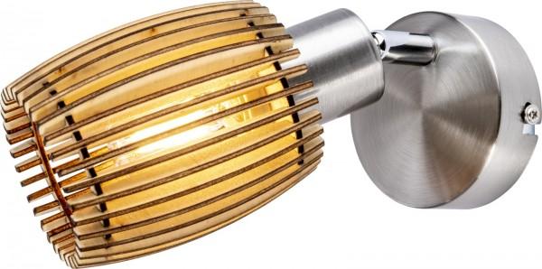 Nino Leuchten Wandleuchte Wandlampe Nickel matt Eiche hell 81040146