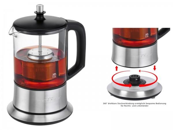 PROFICOOK Teekocher Wasserkocher 360° Glas Edelstahl 0,5 L TK 1165
