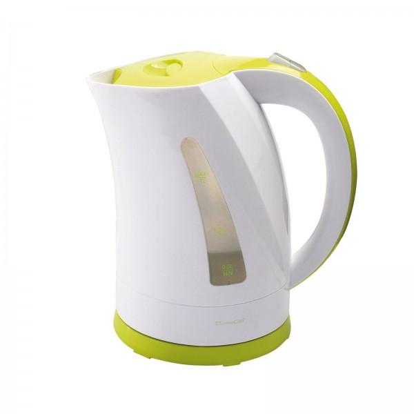 DomoClip Wasserkocher 1,7 L Edelstahl-Heizelement weiß-grün DOM298BV
