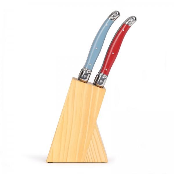 LIVOO Laguiole Messerset 6-teilig französische Steakmesser Messerblock L100