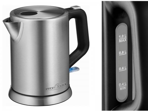PROFICOOK Wasserkocher kabellos Edelstahl 1 Liter PC-WKS 1106